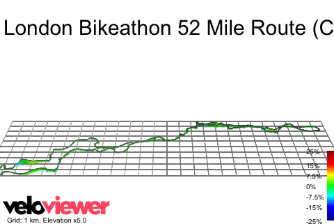 3D Elevation profile image for London Bikeathon 52 Mile Route (Challenge Ride)
