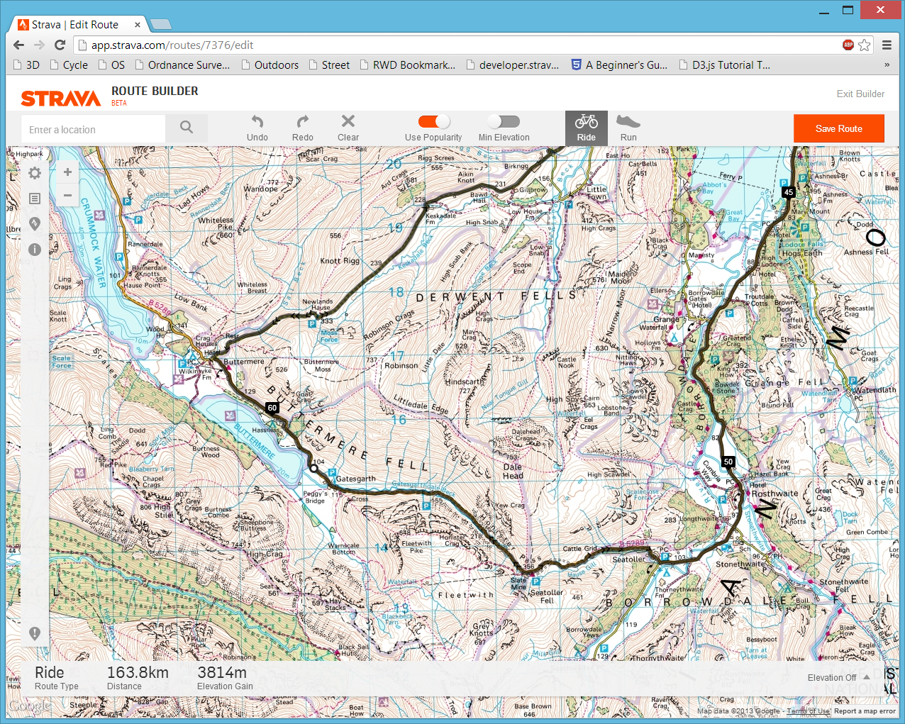 Strava Route map flipped to Ordnance Survey