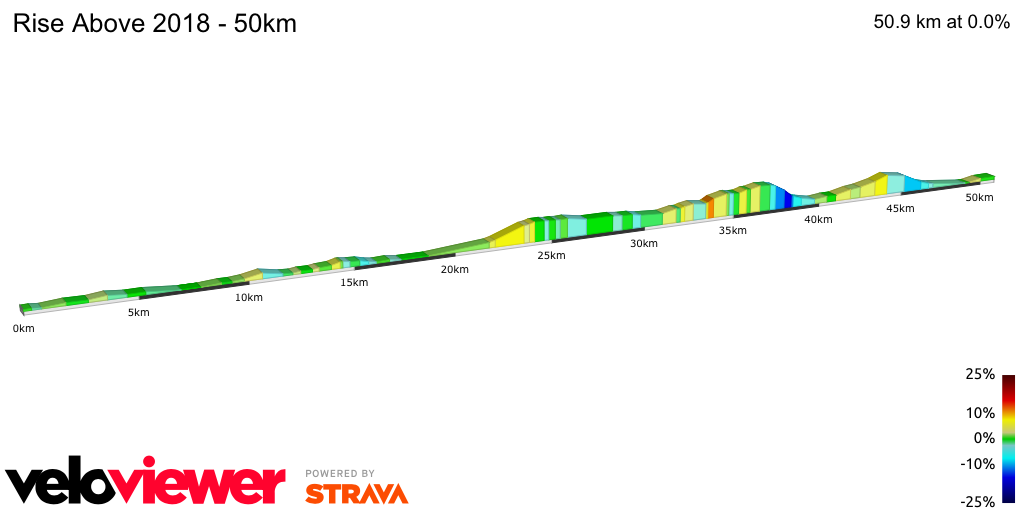 2D Elevation profile image for Rise Above 2018 - 50km