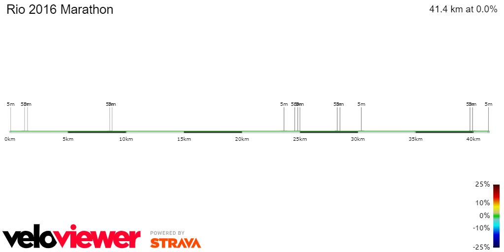 2D Elevation profile image for Rio 2016 Marathon