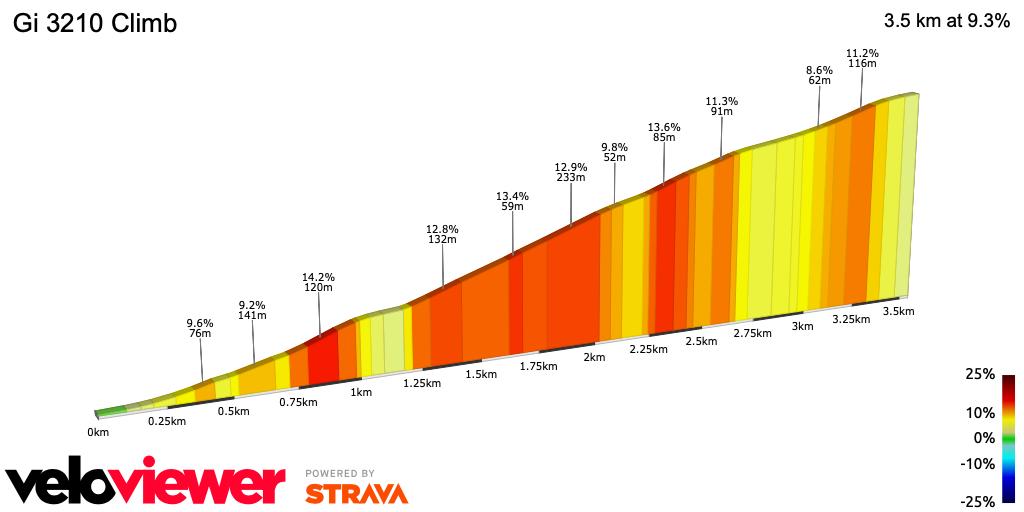 2D Elevation profile image for Gi 3210 Climb