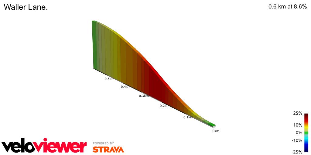 2D Elevation profile image for Waller Lane.