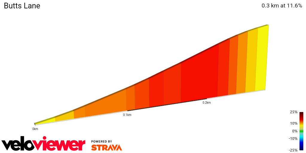 2D Elevation profile image for Butts Lane