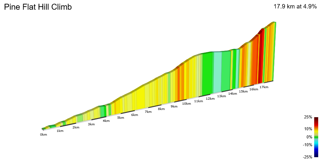 2D Elevation profile image for Pine Flat Hill Climb
