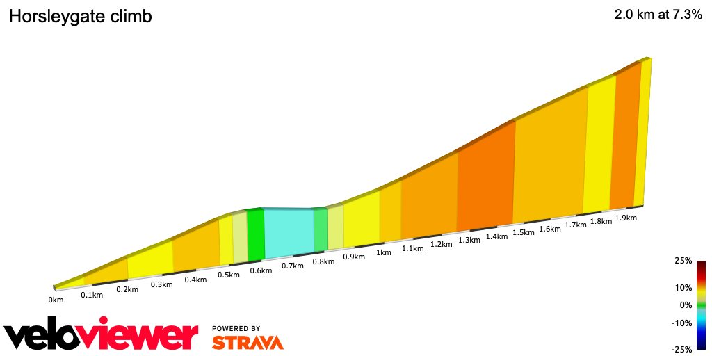 2D Elevation profile image for Horsleygate climb