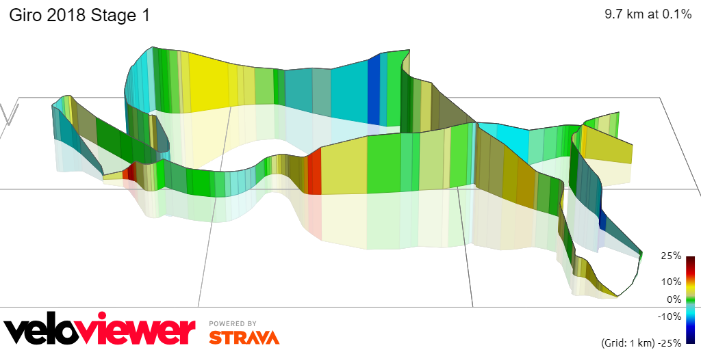 3D Elevation profile image for Giro 2018 Stage 1