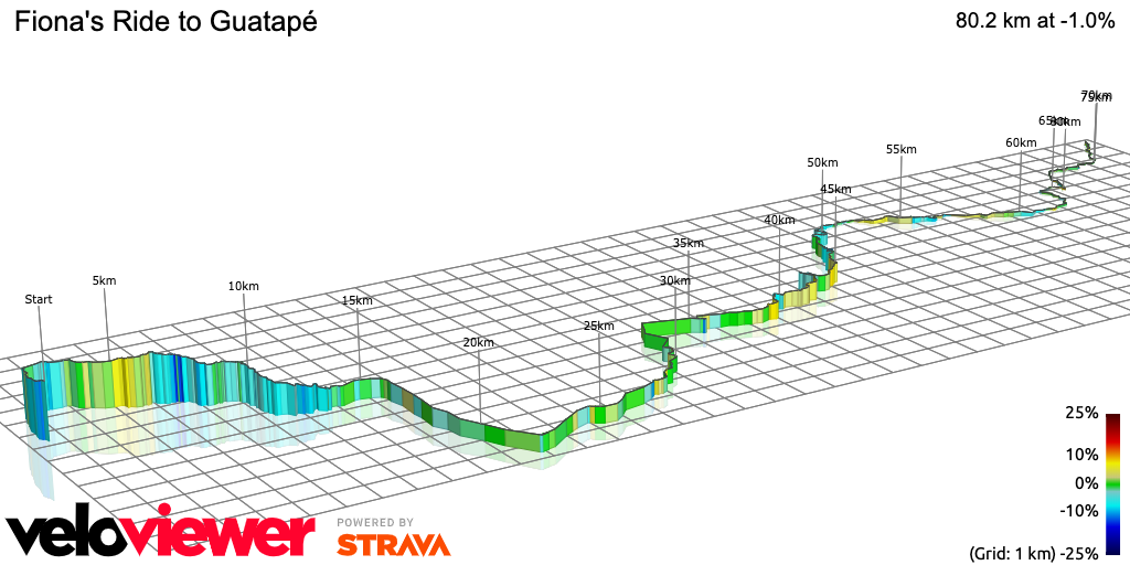 3D Elevation profile image for Fiona's Ride to Guatapé