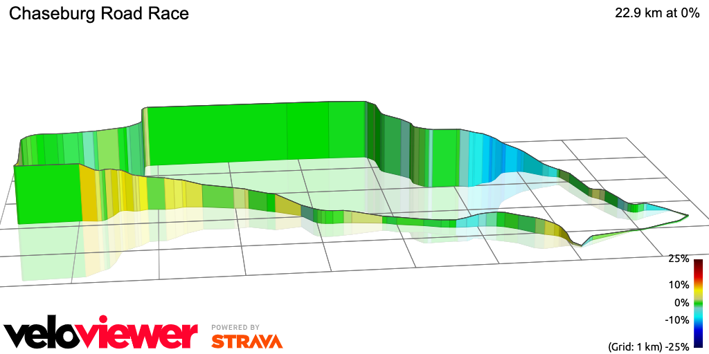 3D Elevation profile image for Chaseburg Road Race