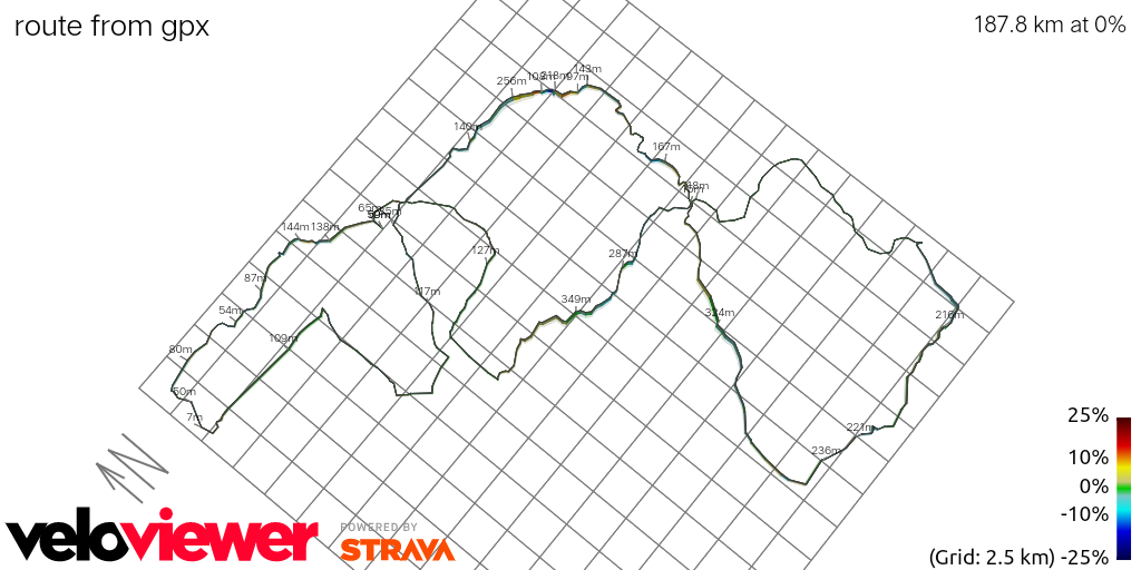 3D Elevation profile image for route from gpx