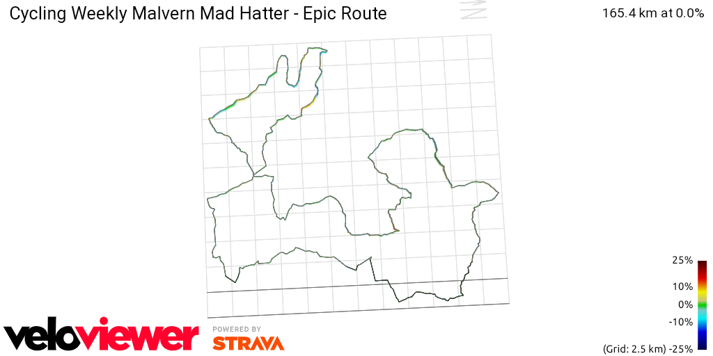 3D Elevation profile image for Cycling Weekly Malvern Mad Hatter - Epic Route