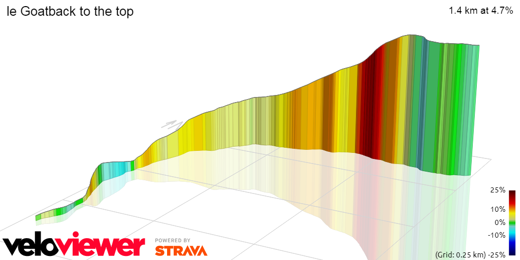 3D Elevation profile image for le Goatback to the top