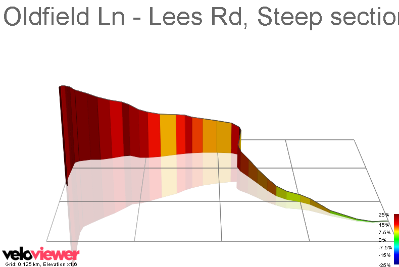 3D Elevation profile image for Oldfield Ln - Lees Rd, Steep section