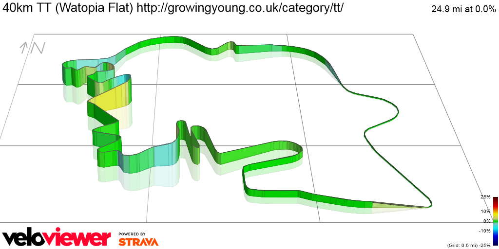 3D Elevation profile image for 40km TT (Watopia Flat) http://growingyoung.co.uk/category/tt/