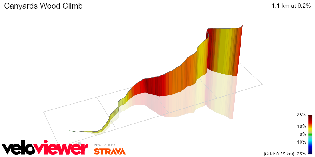 3D Elevation profile image for Canyards Wood Climb