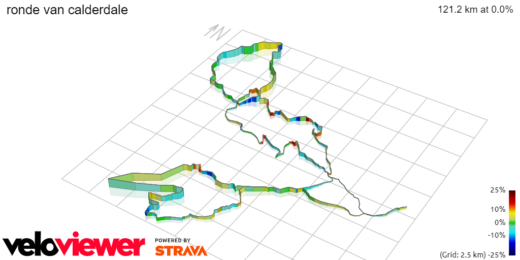3D Elevation profile image for ronde van calderdale