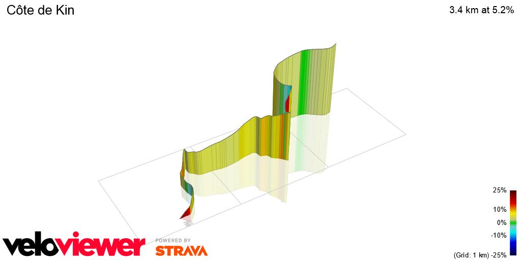 3D Elevation profile image for Côte de Kin