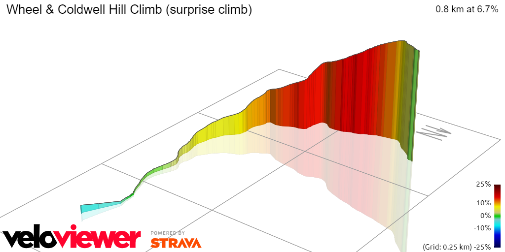 3D Elevation profile image for Wheel & Coldwell Hill Climb (surprise climb)