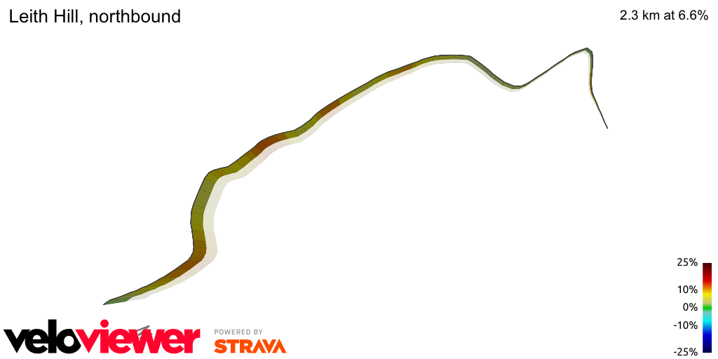 3D Elevation profile image for Leith Hill, northbound