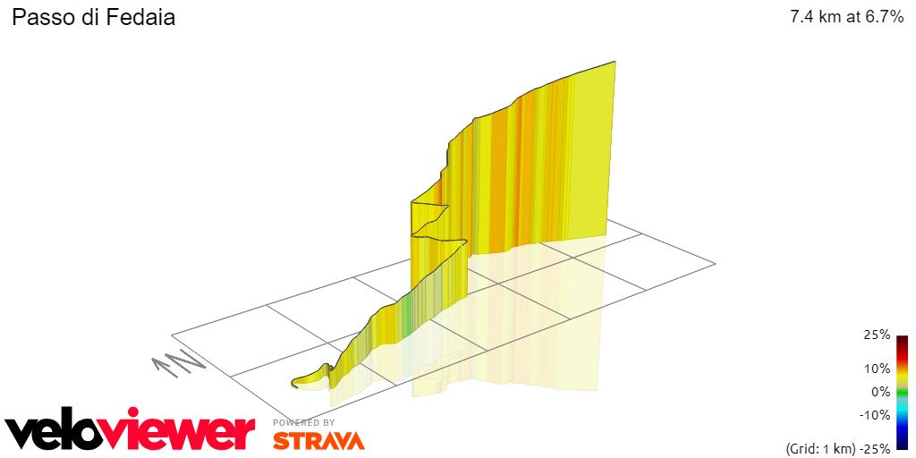 3D Elevation profile image for Passo di Fedaia