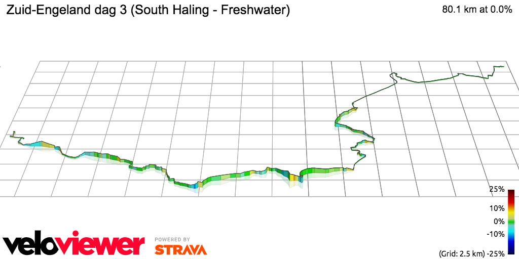 3D Elevation profile image for Zuid-Engeland dag 3 (South Haling - Freshwater)