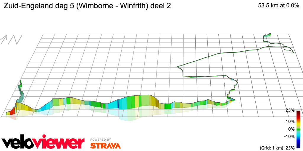 3D Elevation profile image for Zuid-Engeland dag 5 (Wimborne - Winfrith) deel 2