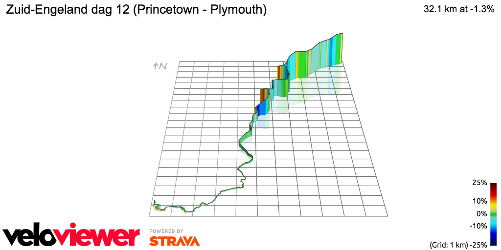 3D Elevation profile image for Zuid-Engeland dag 12 (Princetown - Plymouth)