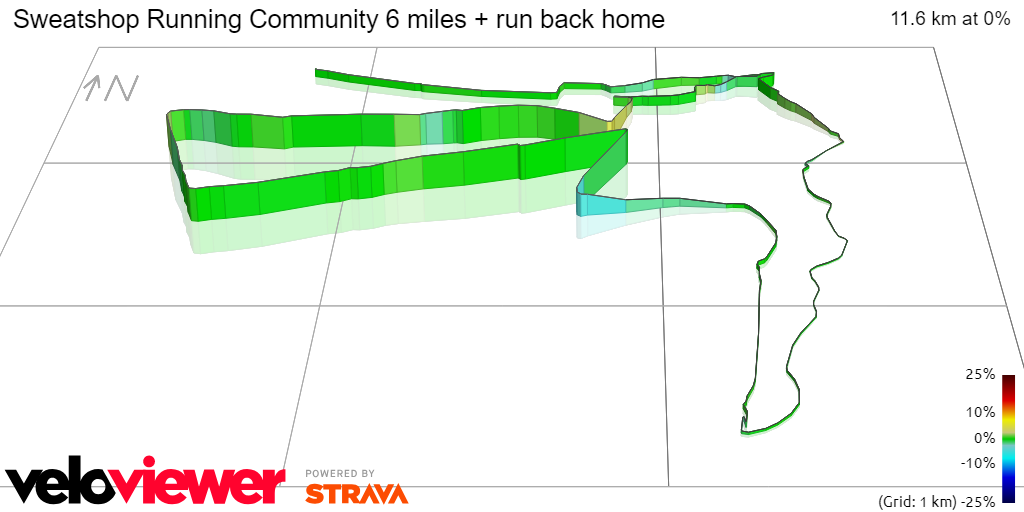 3D Elevation profile image for Sweatshop Running Community 6 miles + run back home